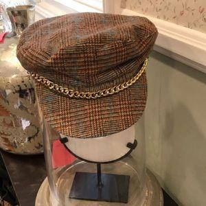 Plaid captains hat with gold chain detail